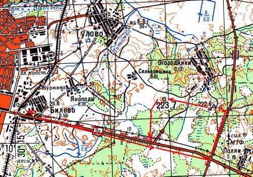 Схема пешеходной части маршрута в районе г. Витебска